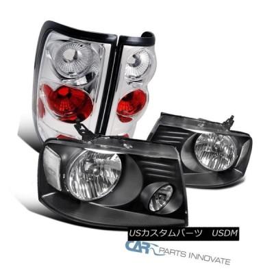 ヘッドライト 04-08 Ford F150ブラックヘッドライトクリアリフレクター+ Altezzaクロームテールライト 04-08 Ford F15