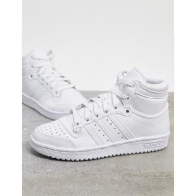アディダス レディース スニーカー シューズ adidas Originals Top Ten hi top sneaker in white  white