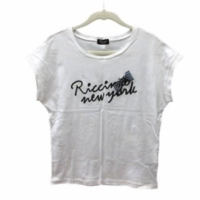 【中古】リッチミー Riccimie カットソー Tシャツ クルーネック 刺繍 半袖 リボン M 白 ホワイト /MN レディース