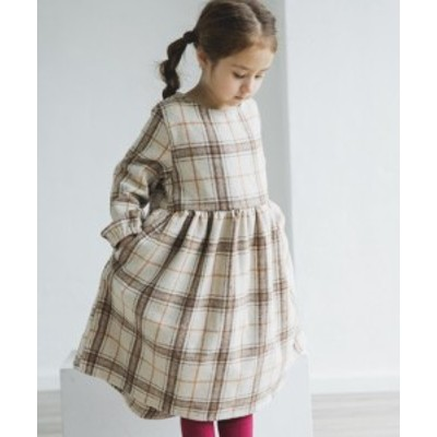 子供服 起毛 チェック柄 総柄 長袖 リラックス ワンピース || 女の子  ベビー キッズ ドレス