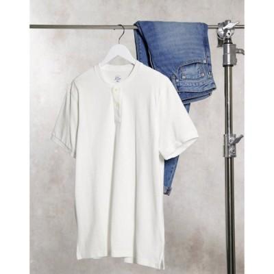 ジェイクルー J Crew メンズ Tシャツ ヘンリーシャツ トップス mox pique henley t-shirt ホワイト