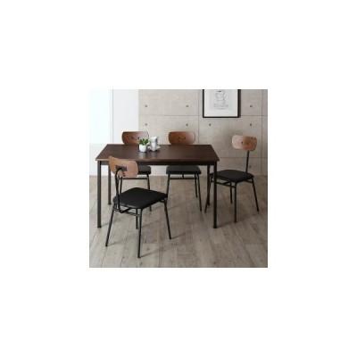 ダイニングテーブルセット 4人用 天然木パイン無垢材ヴィンテージデザインダイニング 5点セット テーブル+チェア4脚 W120