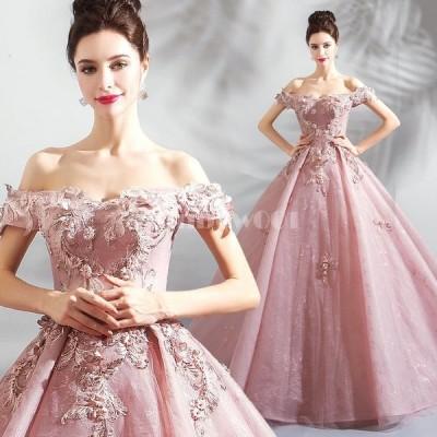 ドレス ロングドレス カラードレス ベアトップン 丸ネック 長袖 レース 新作 結婚式 演奏会 二次会ドレス パーティー