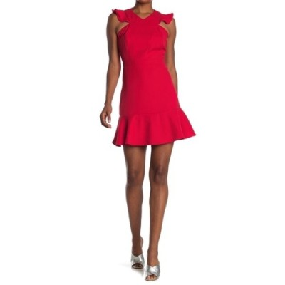 アドレイン ラエ レディース ワンピース トップス Ruffled Shoulder Mini Dress RED MARS