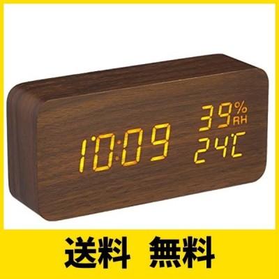 アイリスオーヤマ 置き時計 デジタル 目覚まし時計 温度・湿度表示 省電力モード搭載 木目デザイン 多機能 明るさ調整 ブラウン ICW-01WH-T