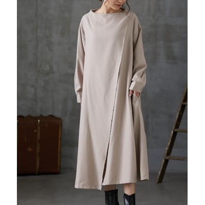 【teMite】起毛素材 ボトルネックAラインゆるシルエットワンピース (ワンピース)Dress