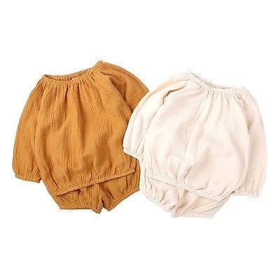 2020夏秋日韓風童セット男女赤ちゃん綿麻長袖+お尻カバー2点セット