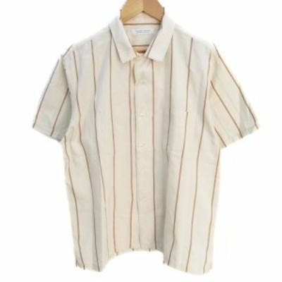 【中古】ジャーナルスタンダード シャツ カジュアル 半袖 透け感 ストライプ柄 シルク混 S ベージュ /FF27 メンズ