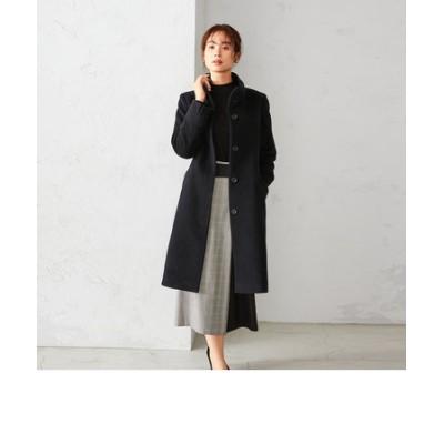 《アンゴラ混》 ベルト付 スタンドカラー コート