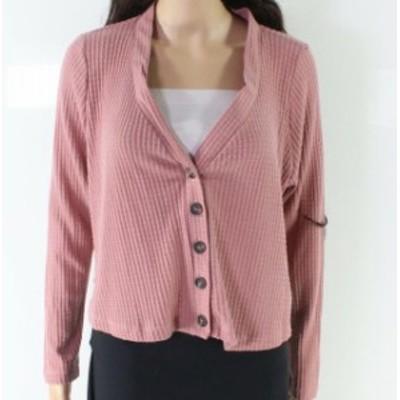 Sadie  ファッション トップス Sadie & Sage Pink Medium M Junior V-Neck Waffle Knit Cardigan Sweater
