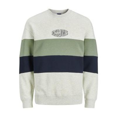 ジャック アンド ジョーンズ メンズ パーカー・スウェットシャツ アウター Men's Sweatshirt White/Green