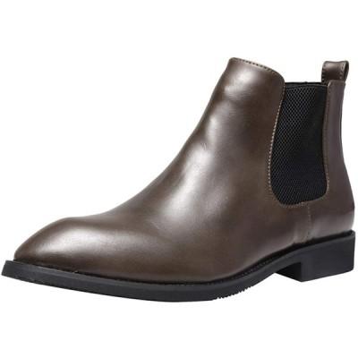 [Jinbeile] ビジネスシューズレインシューズカジュアルブーツメンズファッションブーツオフィスおしゃれ男女兼用晴れ靴防水日常通勤通用 カーキ12