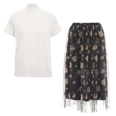 GeeRA Tシャツ&プリントチュールスカート2点セット