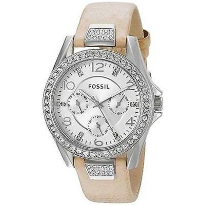 腕時計 フォッシル Fossil レディース ES3889 'Riley' マルチファンクション クリスタル ブラウン レザー 腕時計