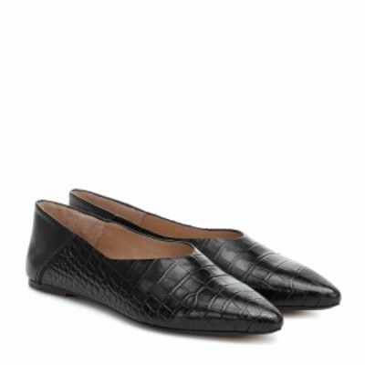 ジョゼフ Joseph レディース スリッポン・フラット シューズ・靴 Croc-effect leather ballet flats Nero