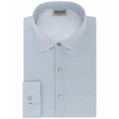 Kenneth Cole ケネスコール ファッション ドレス Kenneth Cole Reaction Mens Blue Size 16 1/2 Geo Slim Fit Dress Shirt