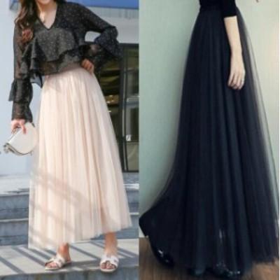 ハイウエストスカート 着痩せ 4色 3枚重ね 裏地で透けない 春夏 チュールスカート 可愛いチュールドレス フレアロングスカート Aライン