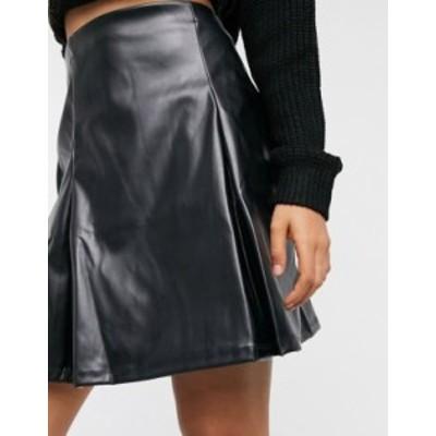 エイソス レディース スカート ボトムス ASOS DESIGN pleat leather look mini skirt in black Black