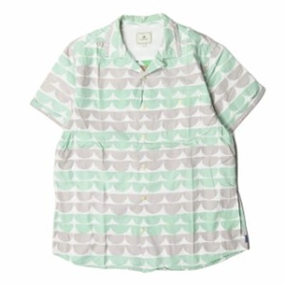 TWOTHIRDS トゥーサーズ Lazarev Sea 総柄プリントオープンカラーシャツ S グリーン 半袖 コットン