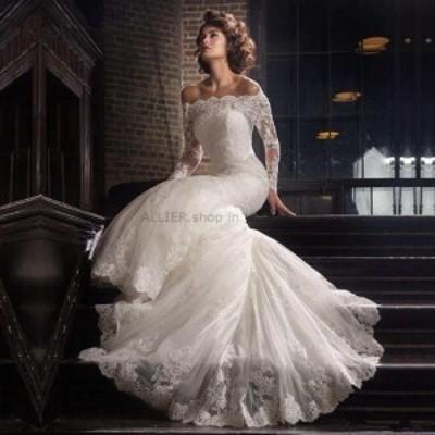 サイズオーダー可 ウェディングドレス ロマンチックなマーメイドショルダーアップリケウェディングドレスロングスリーブブライダル