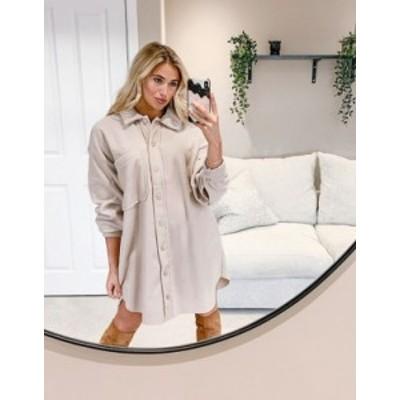 エイソス レディース ワンピース トップス ASOS DESIGN mini fleece shirt dress in camel Cream