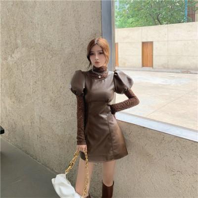 甘い女性の着こなし 早い者勝ち タートルネック レース 韓国語版 快適である 大人気 ファッション 薄い 革 ランタンスリーブ ワンビース