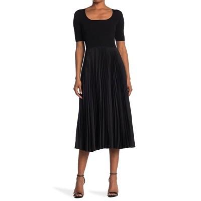 セオリー レディース ワンピース トップス Square Neck Drop Waist Ribbed Skirt Dress BLK