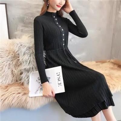 二段重ねスカート風 ニット ワンピース ( ブラック ) ひざ丈 カワイイ 韓国 ファッション ひざ丈
