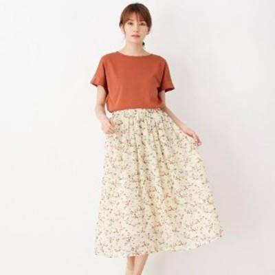 ピンクアドベ(pink adobe)/<Tシャツ付き!>花柄シフォンスカートセット