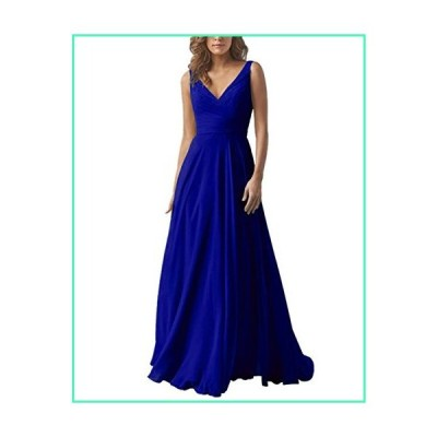 AlfaBridal Long Bridesmaid Dresses Double V Neck Chiffon Wedding Evening Gown Royal Blue US6並行輸入品