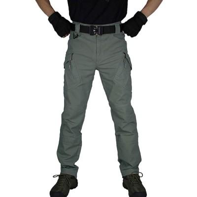 カーゴパンツ 耐摩耗 多機能 伸縮性 メンズ ミリタリー アウトドア ワーク パンツ 男性 タクティカルパンツ 作業 着 長ズボン(Gree