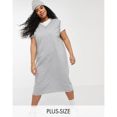 コルージョン Collusion レディース ワンピース タンクワンピース ミドル丈 ワンピース・ドレス Plus Drop Armhole Midi Tank Sweat Dress In Grey Marl グレー