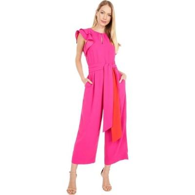 ジェイクルー J.Crew レディース オールインワン ジャンプスーツ ワンピース・ドレス Ruffle Sleeve Jumpsuit with Tie Belt Fuchsia Blossom