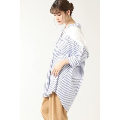 【ローズバッド】 シアーパネルビッグシャツ レディース ブルー - ROSE BUD