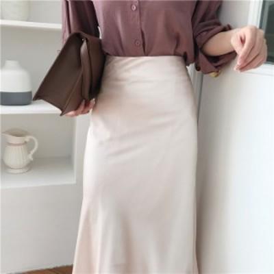 エレガント ハイウエスト レディース ロングスカート ソリッド Aライン スリム ファッション