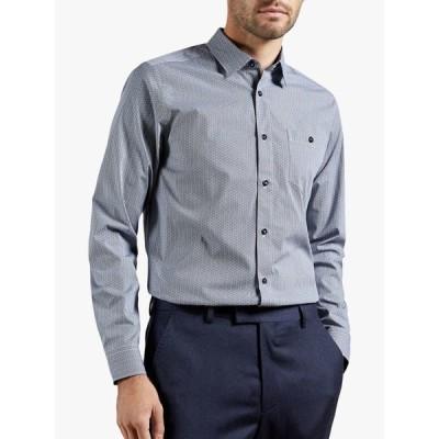 テッドベーカー シャツ メンズ トップス Ted Baker Stonelo Geo Print Cotton Shirt, Navy