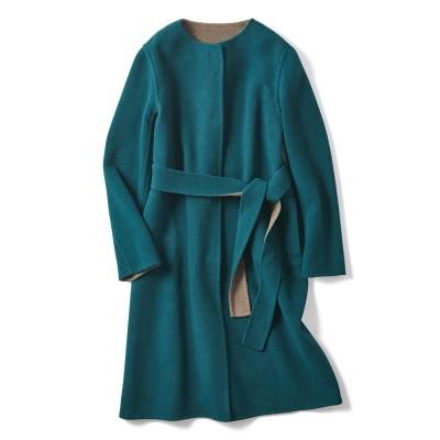 ブルーフォックスファー付き イタリア素材 リバーシブル コート ブルーグリーンXモカ 3:3L