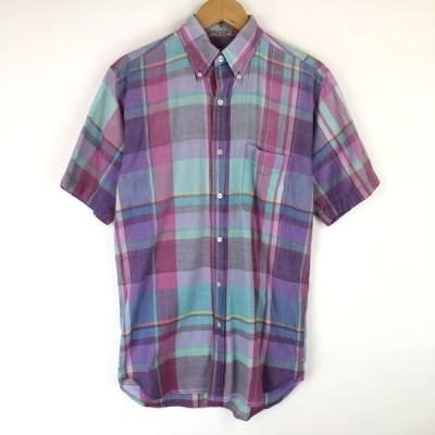 古着 BRITCHES チェックシャツ ボタンダウン 半袖 パープル系 メンズS 中古 n014295