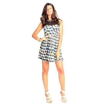 サラブー Sara Boo Geometric Print Skater Dress