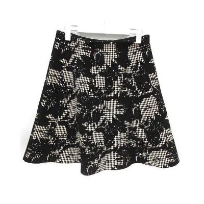 【中古】アンテプリマ ANTEPRIMA スカート ひざ丈 フレア 総柄 40 L 白 ホワイト 黒 ブラック /KX レディース 【ベクトル 古着】
