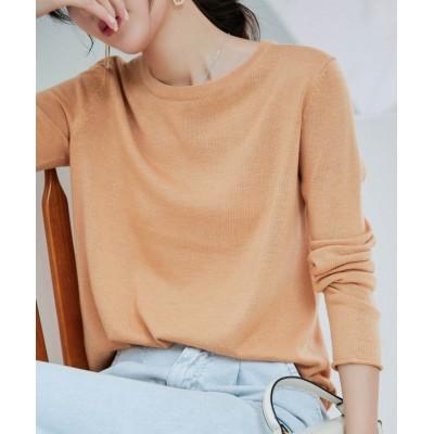 (SAISON DE PAPILLON/セゾン ド パピヨン)袖くるりシンプルデザインニットトップス/レディース オレンジ