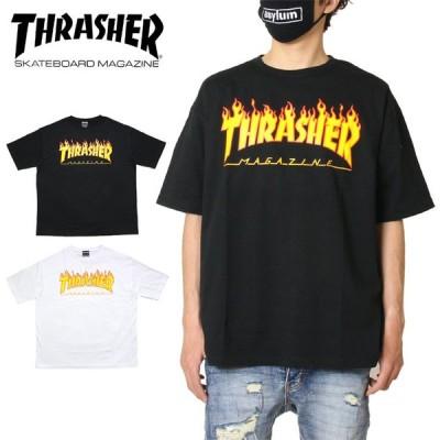 スラッシャー THRASHER Tシャツ 半袖Tシャツ メンズ レディース ブランド 大きいサイズ FLAME BIG SILHOUETTE S/S TEE TH91130BS