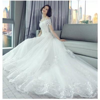 ウエディングドレス レディース 半袖 編み上げ プリンセスドレス 白い ブライダルドレス 花嫁 Aライン ボートネック ロング丈 演奏会 前撮り ドレス