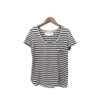 【中古】ミュベールワーク MUVEIL WORK Tシャツ 38 M 茶 ブラウン 紺 ネイビー コットン 半袖 ボーダー レディース 【ベクトル 古着】