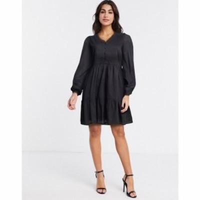 ワイ エー エス Y.A.S レディース ワンピース ワンピース・ドレス cotton smock dress with pintuck detail in black ブラック