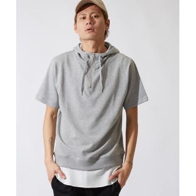 improves / 半袖 裏毛 スウェット ハーフジップ パーカー Tシャツ MEN トップス > パーカー