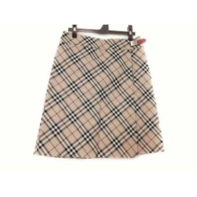 バーバリーブルーレーベル Burberry Blue Label 巻きスカート サイズ38 M レディース ベージュ×マルチ チェック柄【中古】20210213