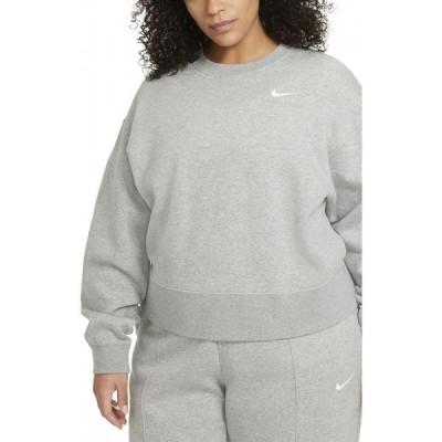 ナイキ NIKE レディース スウェット・トレーナー トップス Sportswear Fleece Crewneck Sweatshirt Grey Heather/White