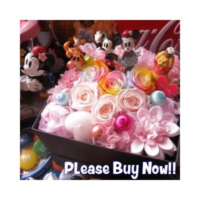誕生日プレゼント 彼女 プーさん ティガー ミッキー ミニー入り 花束風 プレゼント 箱開けてスマイル ボックス入り プリザーブドフラワー入りギフト
