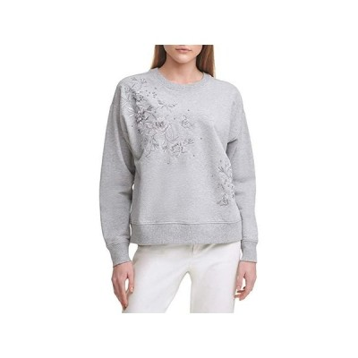 カルバン・クライン Long Sleeve Floral Embossed Fashion Sweatshirt レディース パーカー スウェット フード Heather Grey